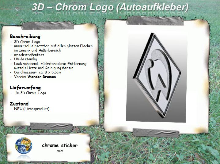 werder bremen 3d chrom logo aufkleber sticker auto ebay. Black Bedroom Furniture Sets. Home Design Ideas