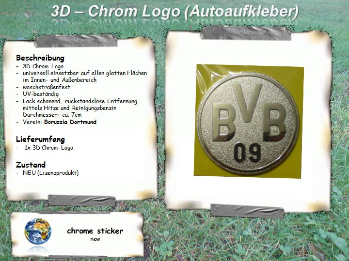 borussia dortmund 3d chrom logo aufkleber auto ebay. Black Bedroom Furniture Sets. Home Design Ideas