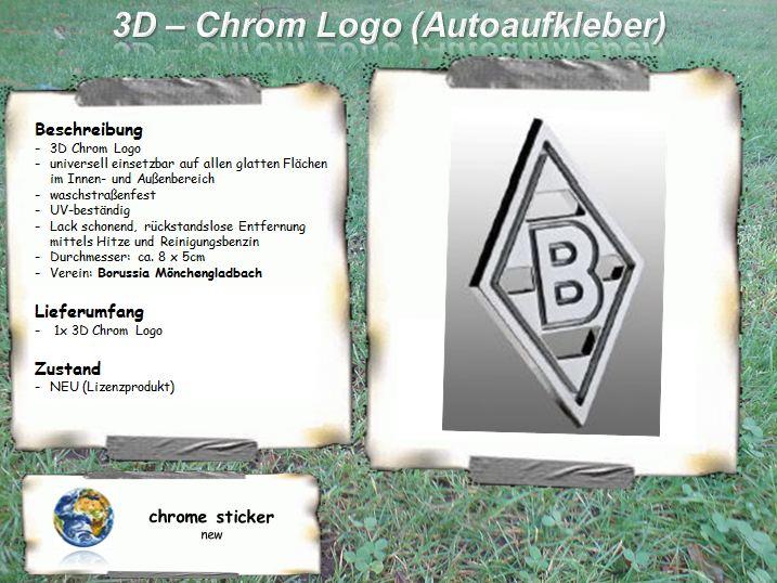 borussia m nchengladbach 3d chrom logo aufkleber auto ebay. Black Bedroom Furniture Sets. Home Design Ideas